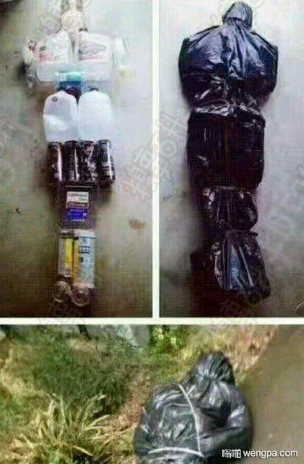 喝完饮料的空瓶不要乱扔 要包好装在黑色垃圾袋 恶作剧搞笑图片 - 嗡啪网
