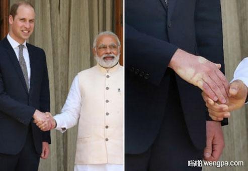 一百年殖民地复仇 英国威廉王子和印度总理莫迪握手搞笑图片 - 嗡啪网