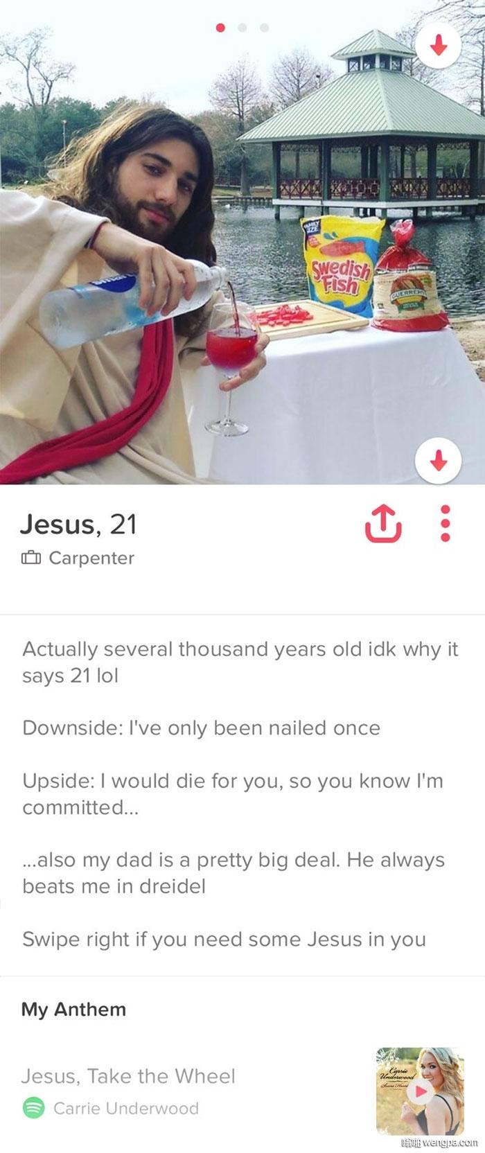 """Jesus On Tinder """"耶稣""""在Tinder 变水为酒... - 嗡啪网"""