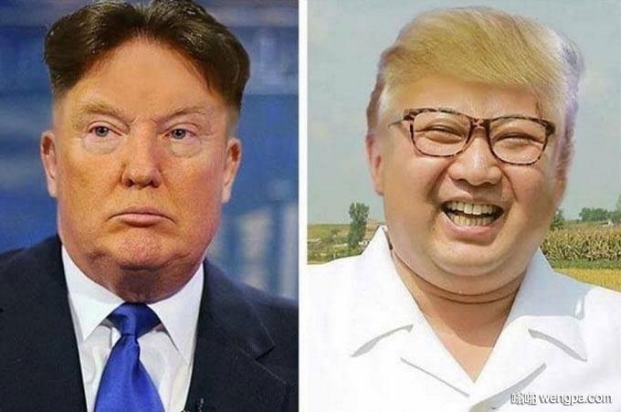 金正恩和特朗普互换发型是什么画风 特朗普金正恩发型搞笑图片 - 嗡啪网