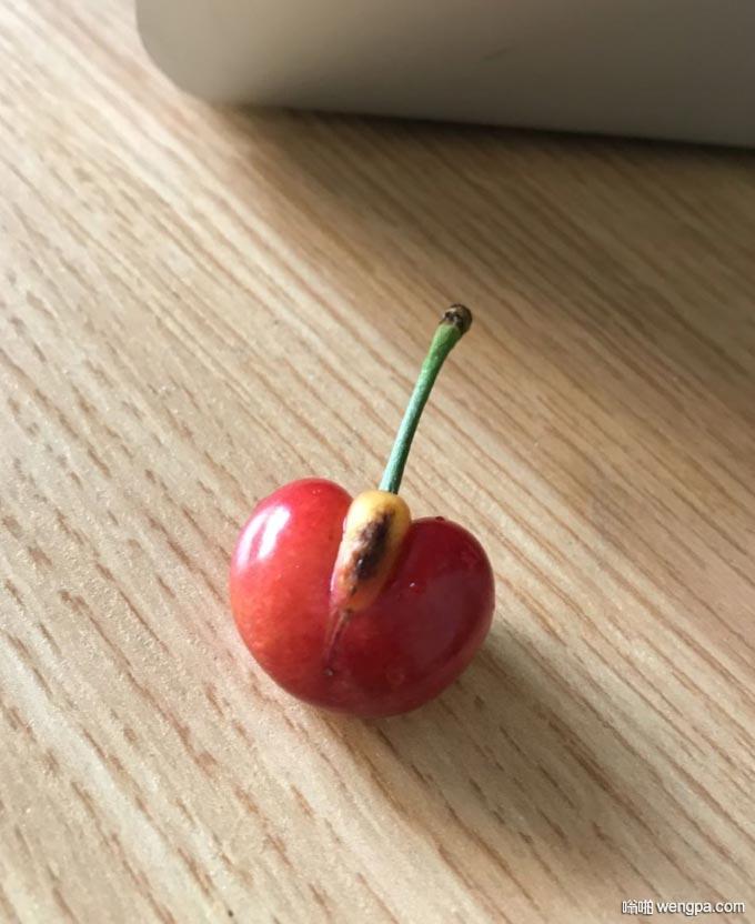 不正经的樱桃 搞笑水果樱桃图片 - 嗡啪网