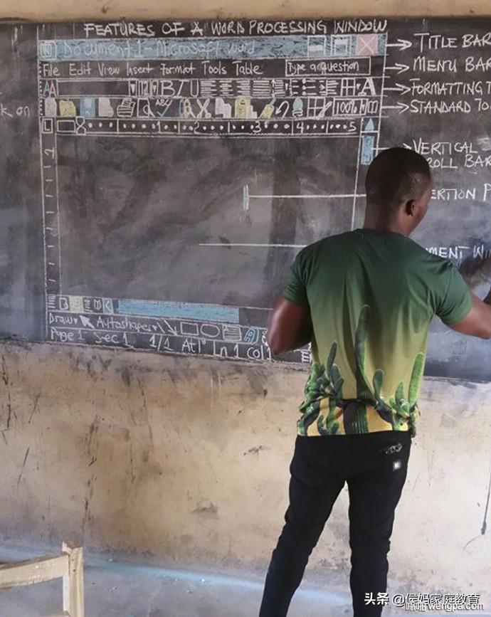 学校条件贫困没有电脑 非洲老师把Microsoft的界画在黑板上
