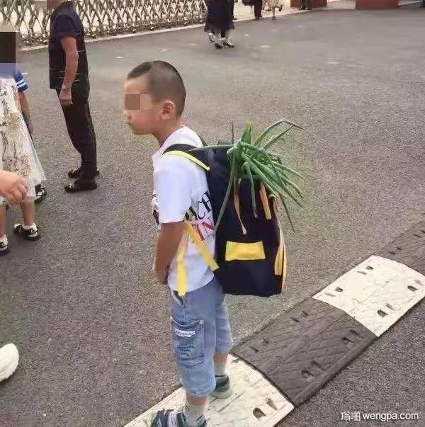 开学第一天 小朋友背一根大葱来报道 哈哈