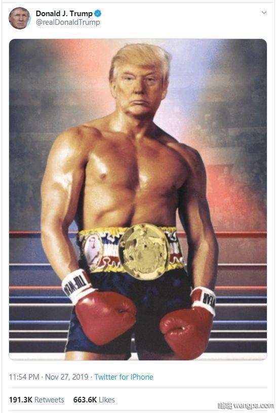 """【""""猛男""""特朗普】 美国总统特朗普在推特上转发自己与拳击手""""洛基""""的合成照"""