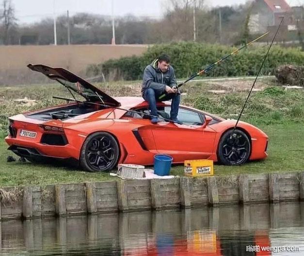 【搞笑汽车图片】 兰博基尼 钓鱼