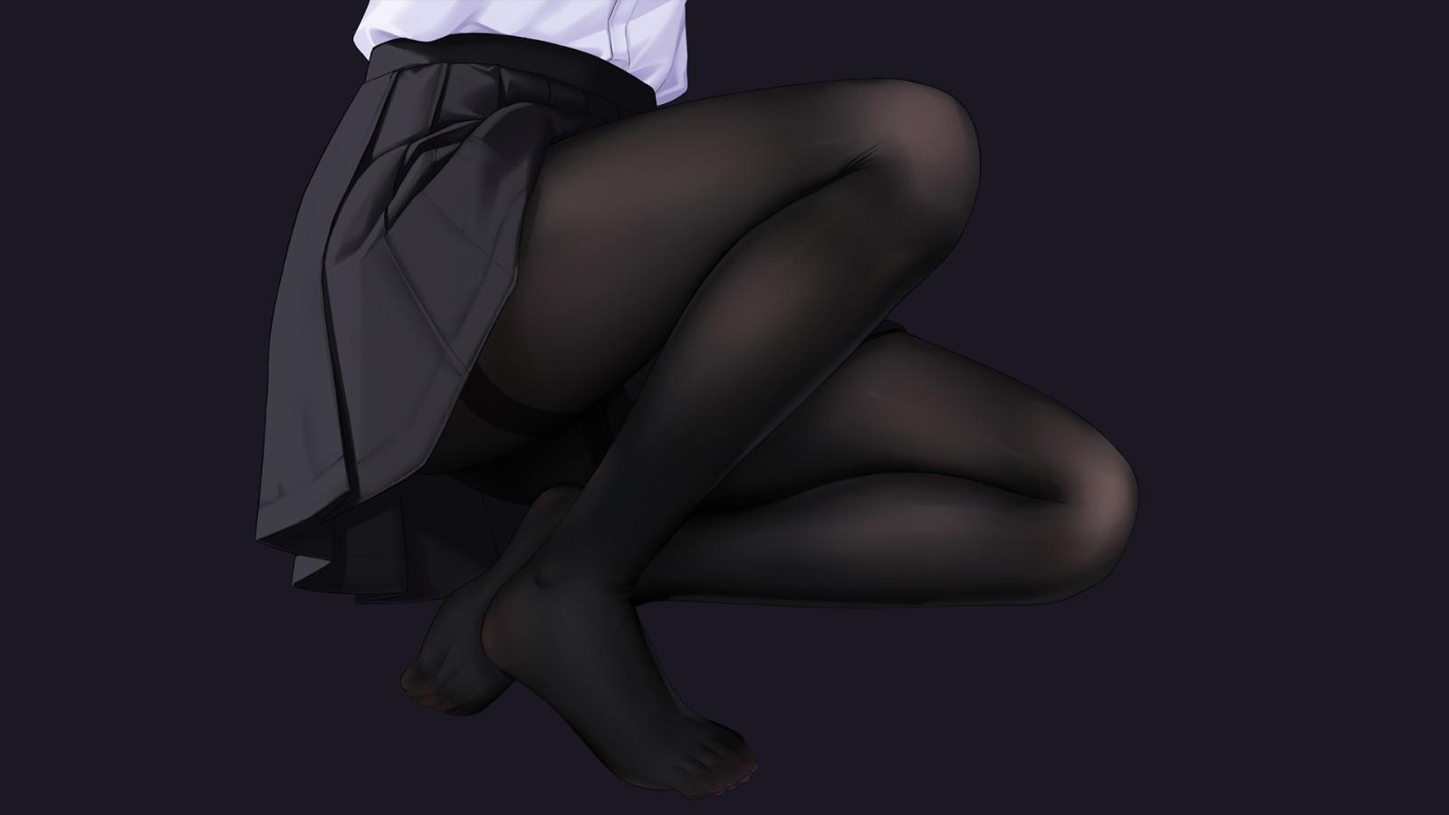 制服迷你短裙 黑色裤袜丝袜动漫美女壁纸
