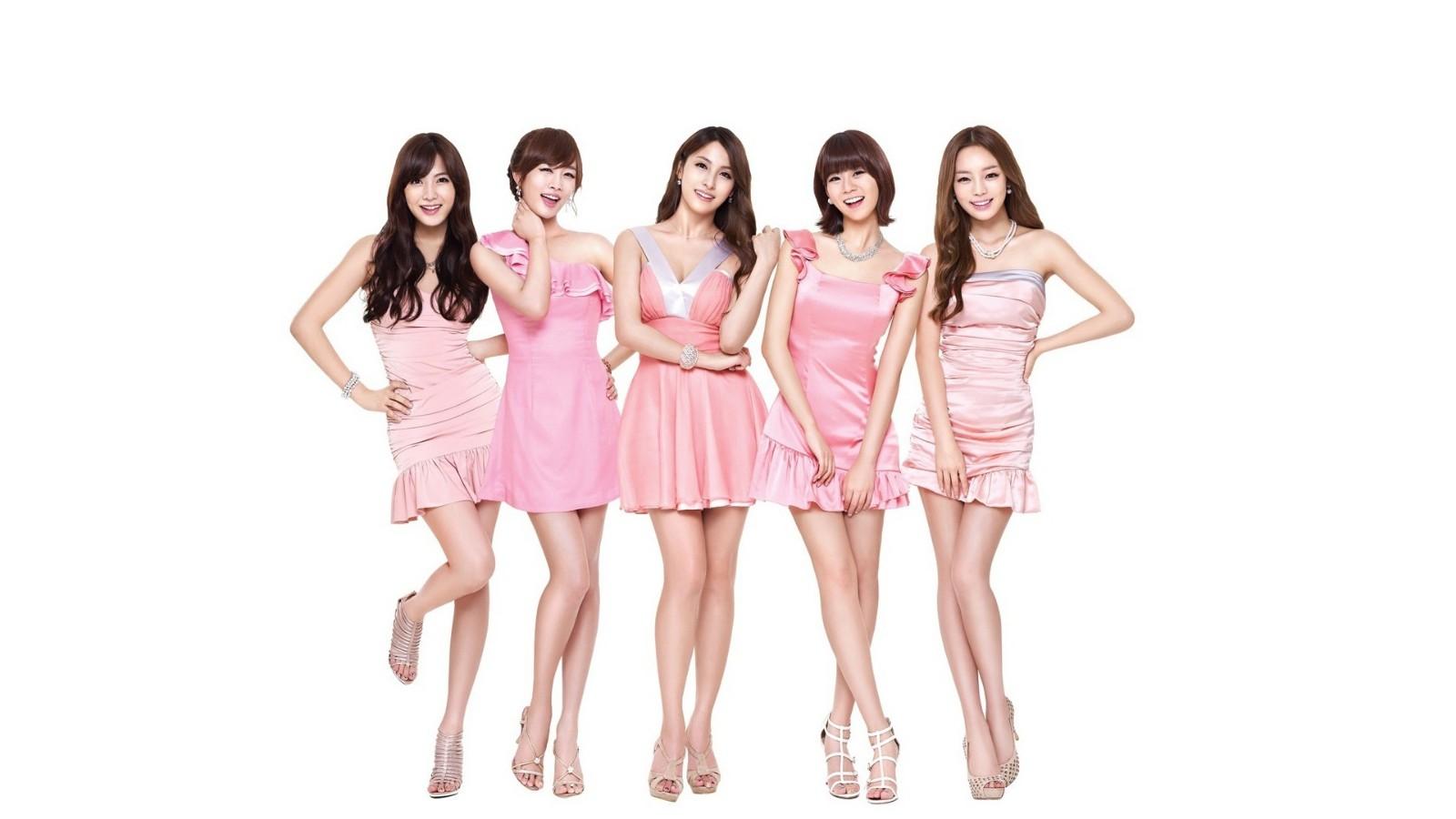K-POP,音乐,韩国美女组合,粉色裙子,美女壁纸