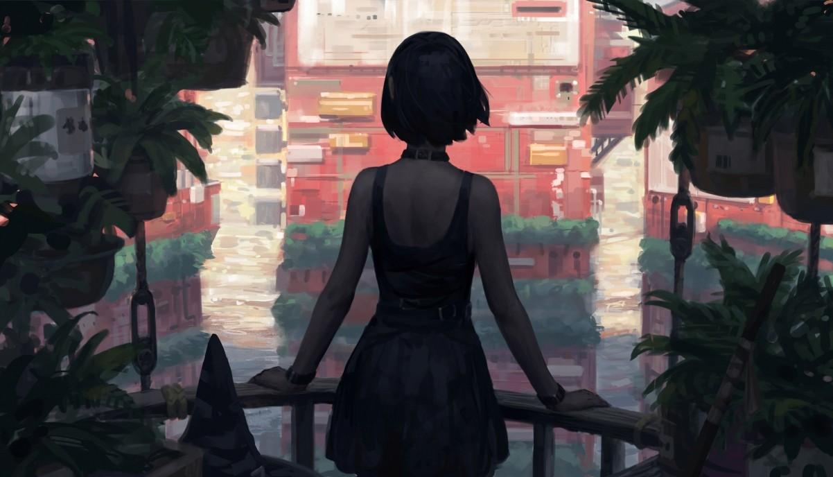 女孩短发 黑发 背部 后背 连衣裙 植物 阳台 建筑 绘画插图4k动漫壁纸