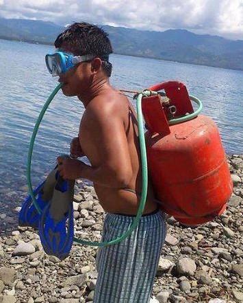 自制氧气瓶,每次潜水都能用一天