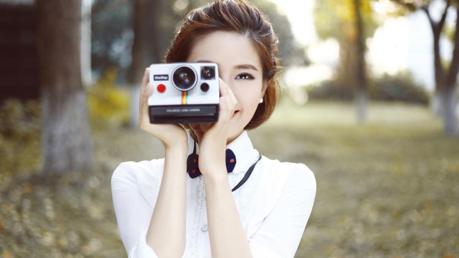 定格的容颜,相机,女孩,小清新,森系美女壁纸