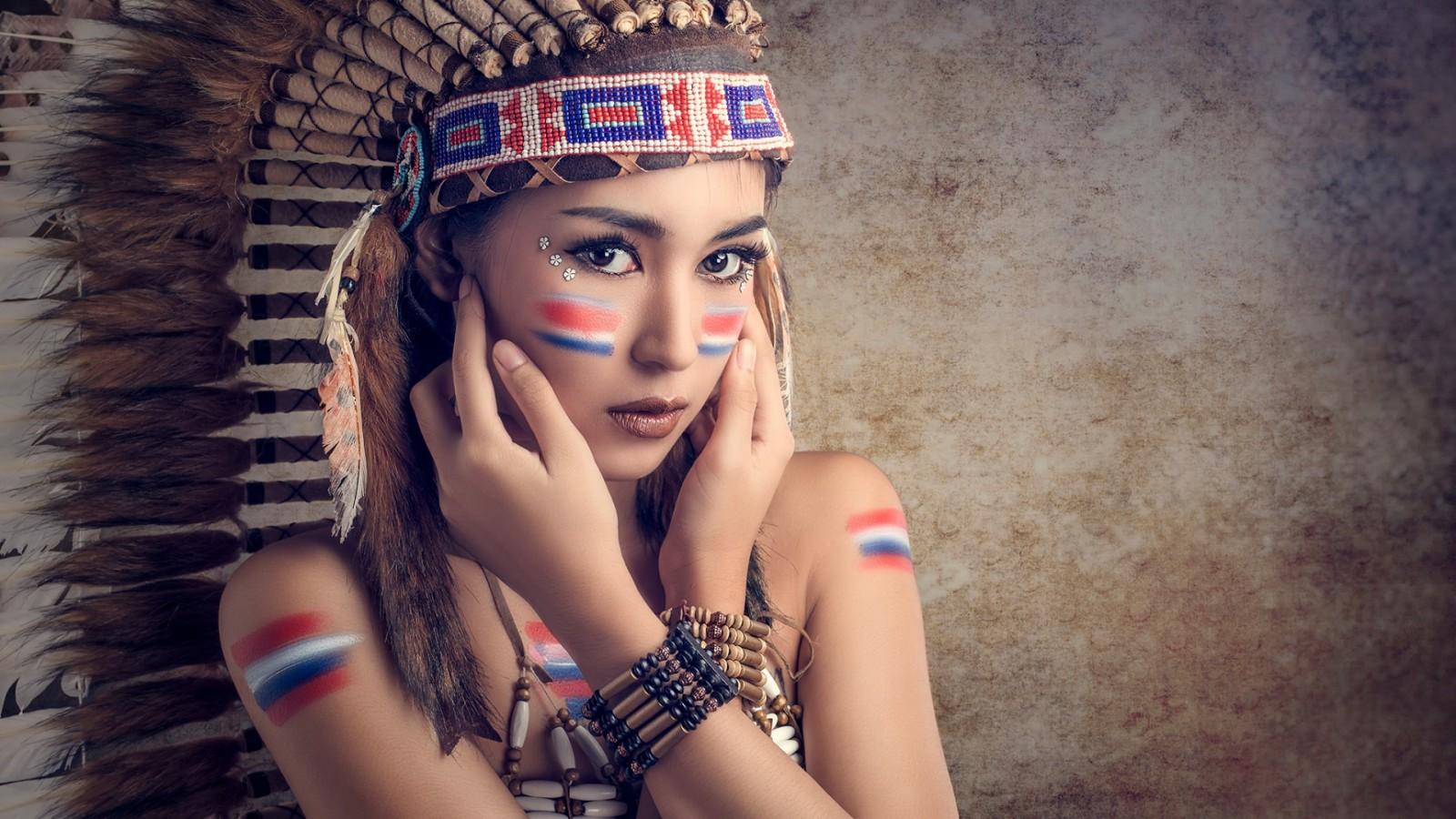 塞班岛,化妆,头盔,羽毛,部落风格,美女桌面壁纸