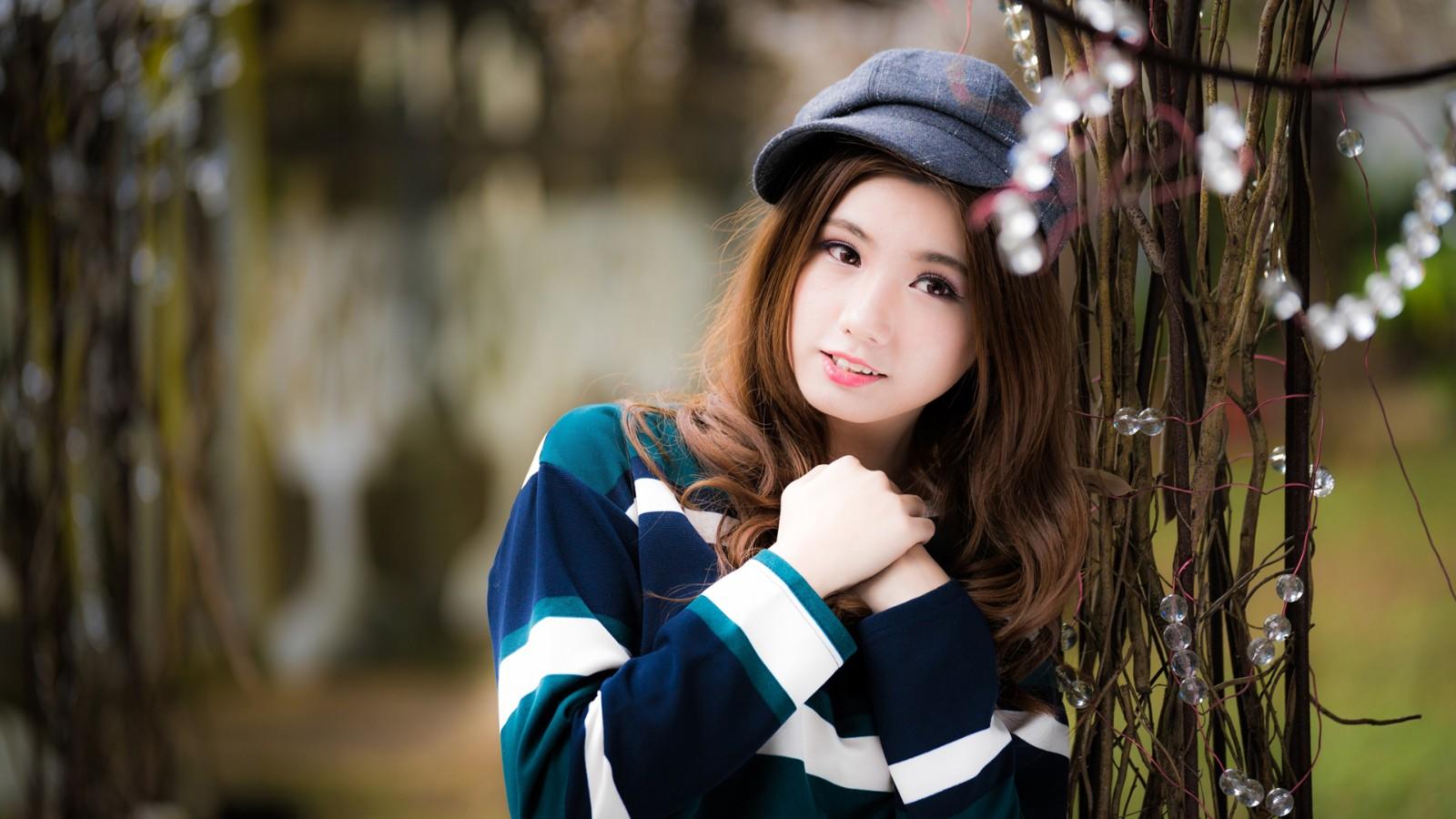 长头发清纯女孩,帽子,美女壁纸