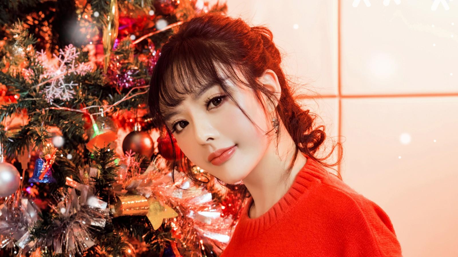 周熙妍圣诞节可爱美女壁纸