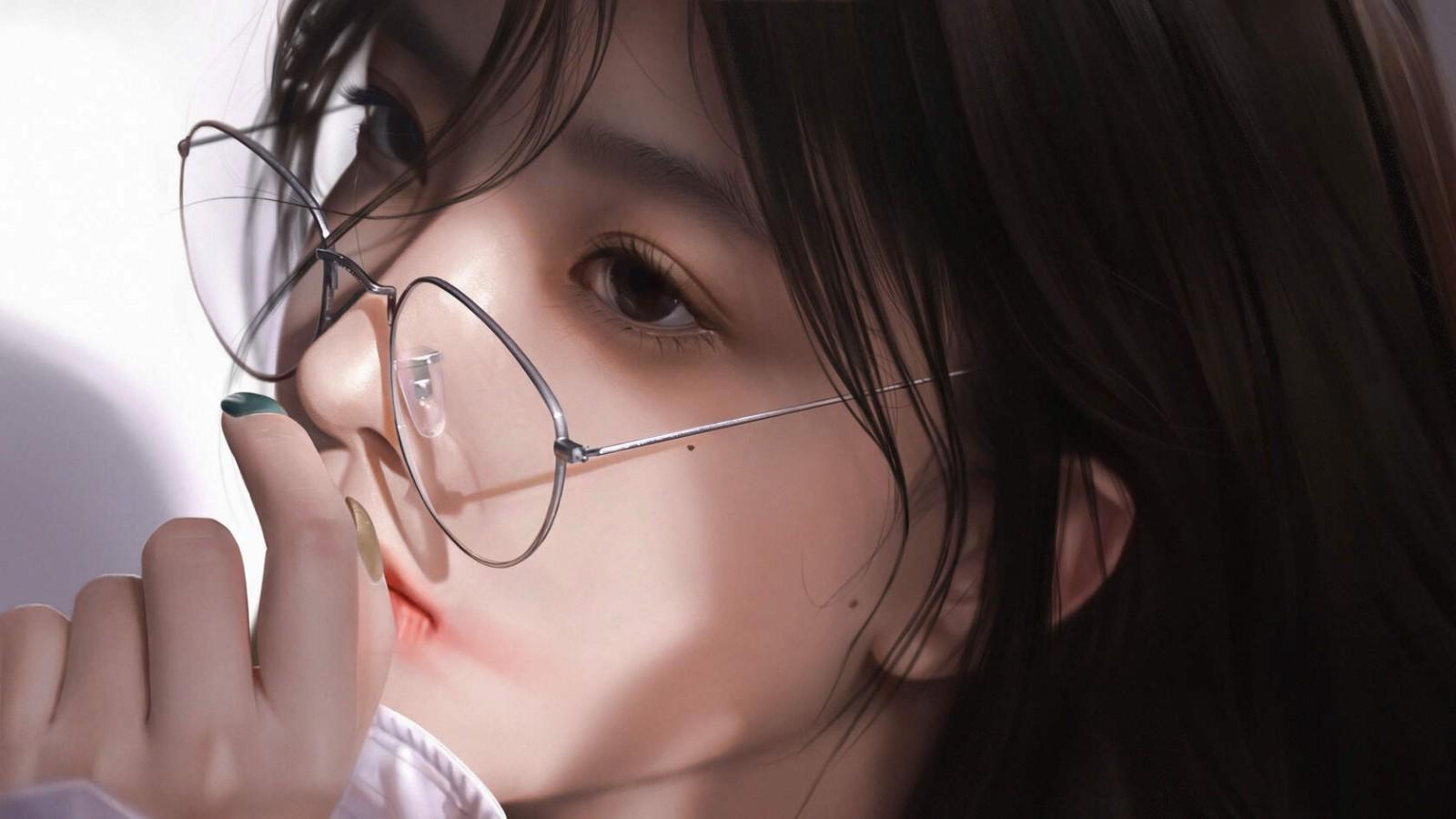 很逼真的戴眼镜的美女肖像插画桌面壁纸