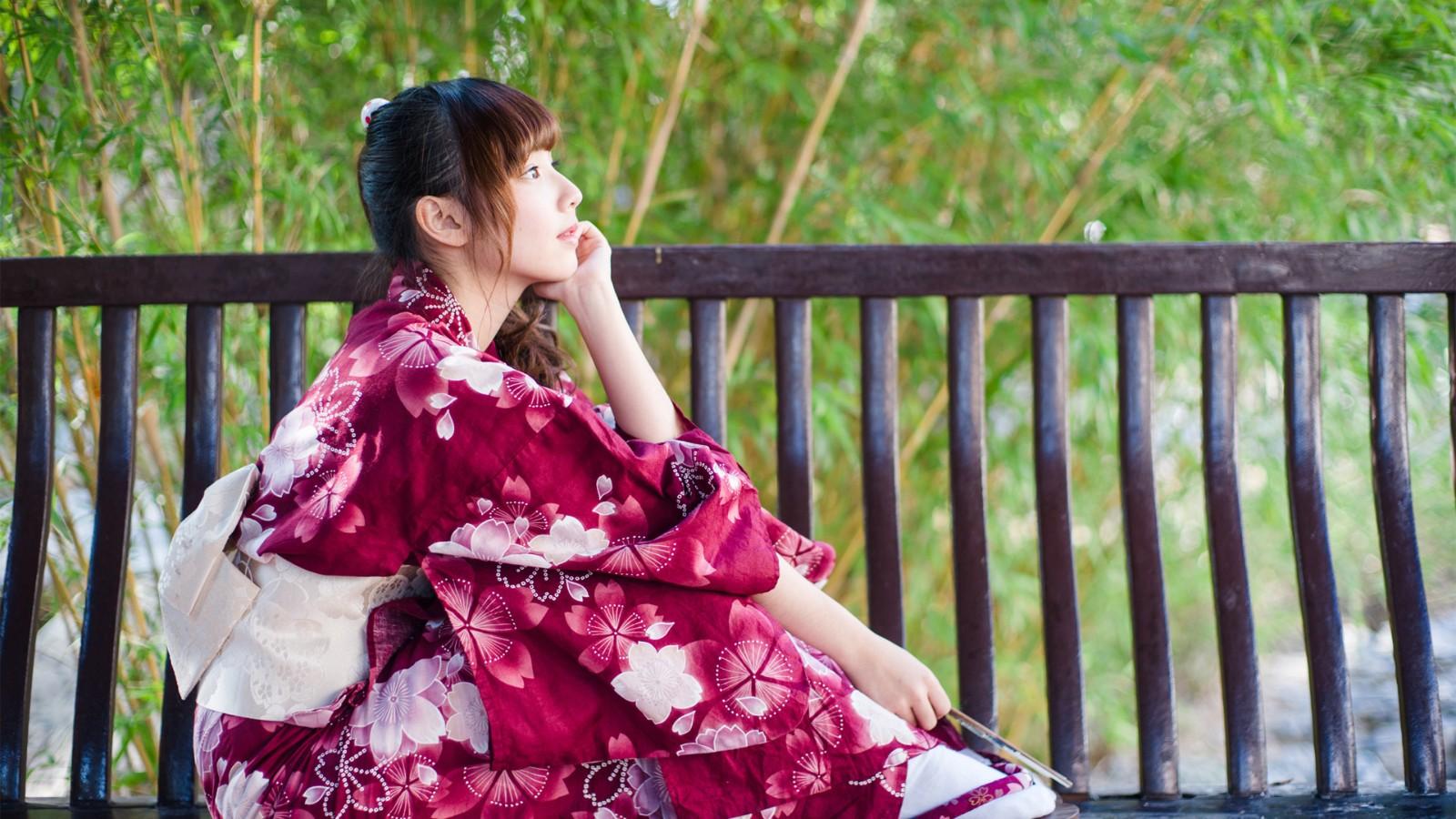 竹子 凉亭 椅子 日本和服美女壁纸